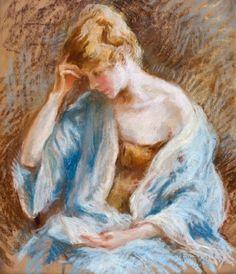 Hornung, Charles Emile Moise (1883-1956) Jeune femme à la chevelure blonde, à la lettre