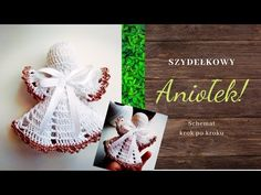 Szydełkowy aniołek schemat - YouTube Christmas Crochet Patterns, Crochet Ornaments, Crochet Snowflakes, Crochet Christmas, Dishcloth Knitting Patterns, Knit Dishcloth, Christmas Angels, Xmas, Christmas Ornaments