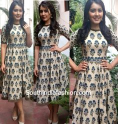 Raashi Khanna in a Shravans studio dress photo Frock For Teens, Frock For Women, Kalamkari Dresses, Ikkat Dresses, Kalamkari Kurti, Frock Fashion, Fasion, Fashion Dresses, Fashion Clothes
