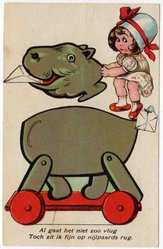 Cut Out Postcard of a Girl with a Hippopotamus