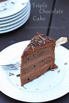 The perfect Triple Chocolate Layer Cake - rich double chocolate cake with a creamy chocolate frosting and chocolate shavings.