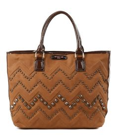 This Brown & Camel Studded Zigzag Misha Tote by Nicole Lee is perfect! #zulilyfinds