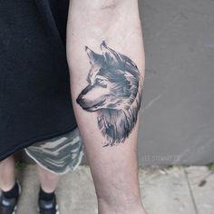 The Minimalist Tattoos Of Lee Stewart Look Like Paint Brush Strokes Animal Tattoos, Paint Brushes, Brush Strokes, Tatting, Usmc Tattoos, Wolf, Minimalist Tattoos, Stew, Tattoo Ideas