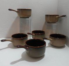 Sango - Pottery Stoneware 6 Soup Bowls - Handled Crocks - Nova Brown  #4933  #Sango