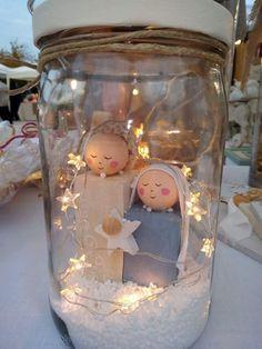 Mason jar nativity scene with star lights. - #jar #lights #Mason #nativity #scene #star