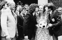 5 June Kevin Keegan and Emlyn Hughes kiss Mrs Thatcher on the doorstep of as she held a reception for members of the England football squad Emlyn Hughes, Kevin Keegan, Football Squads, Hamburger Sv, Daisy Lowe, Marianne Faithfull, Margaret Thatcher, Jamie Campbell Bower, Female Head