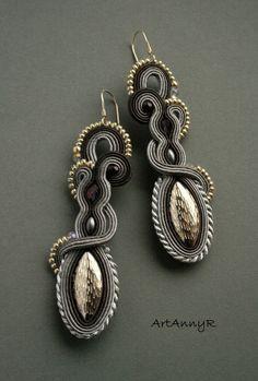 abc eleje Soutache Necklace, Tassel Earrings, Drop Earrings, Boho Jewelry, Beaded Jewelry, Jewelery, Soutache Tutorial, Diy Bow, Black Earrings