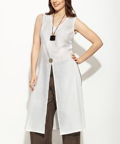 Loving this White Linen Sleeveless Duster - Women & Plus on #zulily! #zulilyfinds