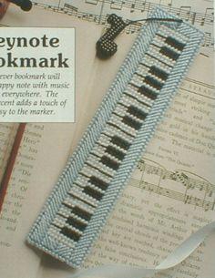 plastic canvas keyboard bookmark - needlepoint, not cross-stitch Plastic Canvas Books, Plastic Canvas Crafts, Plastic Canvas Patterns, Cross Stitching, Cross Stitch Embroidery, Cross Stitch Patterns, Book Markers, Cross Stitch Bookmarks, Canvas Designs