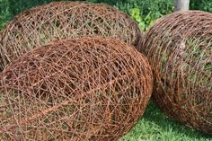 Wire egg sculptures made by Wired for Living, Lee Adams and Barry McLoughlan, Bendigo