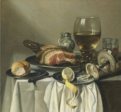 Pieter Claesz - Still life with ham, lemon, a roll, a glass of wine, and others on a table; Dimensions: 26.12 X 28 in (66.34 X 71.12 cm)