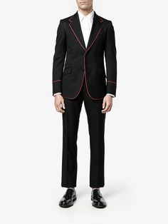 Shop Gucci Heritage tuxedo with piping from our Tuxedos & Dinner Suits collection. Dinner Suit, Tuxedo Suit, Covered Buttons, Cropped Pants, Skinny Fit, Black Pants, Suit Jacket, Gucci, Suits