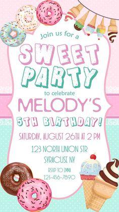 Sweet Birthday Party Invitation, Donut and Ice cream Party Invitation, Ice Cream Invitation, Any age Party Sweets, Candy Party, Double Birthday Parties, 2nd Birthday, Birthday Ideas, Ice Cream Invitation, Birthday Invitations Kids, Invites, Donut Party