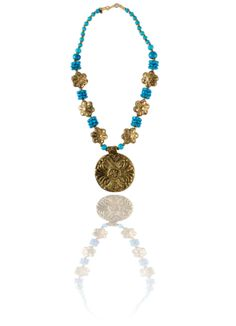 Blue brass bead necklace