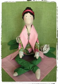 Shanti shanti om - chill out!  Little Yoga Doll Handmade Doll.