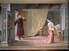 Pai de Santa Catarina de Sena observa a filha orando sob uma pomba.