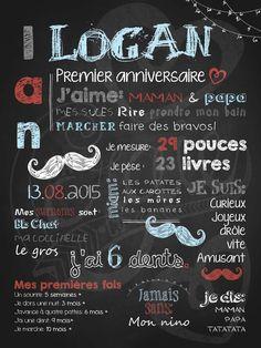 Affiche personnalisée 1er anniversaire Petit moustachu | 28,00$ #chalkboard #lacraieco #moustache