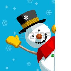snowman: Happy cute snowman greeting and holding a blank message page. Editable vector format Christmas card illustration.