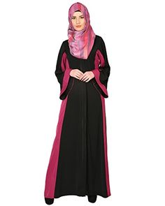 Modest Forever Black And Magenta AbayaP233M_Black_M -- You can find out more details at the link of the image.