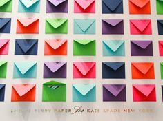Cheree Berry envelope wall for Kate Spade Louis Shop, Kate Spade, Berry, Book Wall, Colored Envelopes, Wedding Inspiration, Inspiration Wall, Wedding Ideas, Stationery