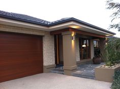 Metricon Fairhaven at Keysborough Californian Facade Facade Design, Exterior Design, House Front, My House, Modern Entrance, Stucco Homes, Bungalow House Design, Exterior House Colors, Modern House Plans