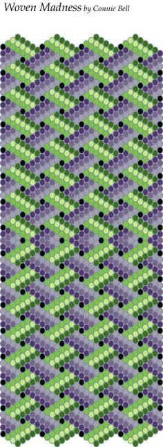 """Woven Madness"" free bead pattern is courtesy of Connie Bell"