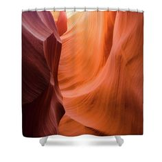 Orange Magic Shower Curtain featuring the photograph Orange Magic 6 by Elena Chukhlebova #showercurtain #orange #bathroomdecor #antelopecanyon #antelope #canyon #bathroomdecor #accent #bathroomaccent #nature #photo #elenachukhlebova #USA #America #homedecor