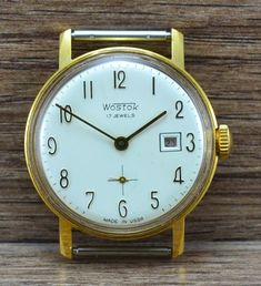 Soviet USSR Russian  watch VOSTOK  Gold plated case  17 Jewels cal. 2605  Length 41 mm Diameter 35 mm Diameter with crown 37 mm   ORIGINAL 100% Сondition on the photo!!!