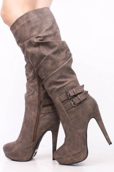 TAUPE SLOUCHY DOUBLE BUCKLE KNEE HIGH BOOTS