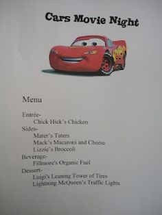 Disney Movie Nights - Cars Themed Dinner