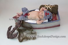 Newborn Baby Sailor Pants and Hat Set Prop READY TO SHIP!!! Adorable photography prop for little baby boys & girls! Soft ,100% cotton. Made from