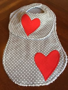 Gray Polka Dot 2 Piece Baby Bib and Burp Cloth set with Red Heart Applique! by DazzlingCinsations on Etsy