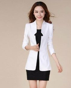 เสื้อสูทสีขาว สีสุภาพ ใส่คลุมกับเดรสก็เก๋ [Mo1679]