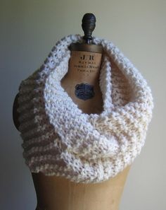 Super Snuggly Chunky knit cowl Cream Infinity scarf by Happiknits on etsy $79.00