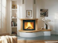 curved hearth by fireplace