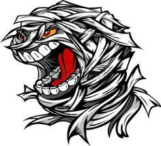 cartoon: Cartoon Image of a Scary Screaming Halloween Monster Mummy Head