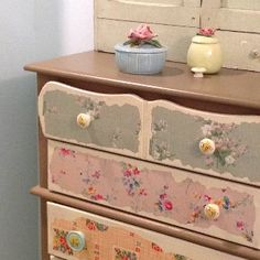 Vintage wallpaper on dresser drawers