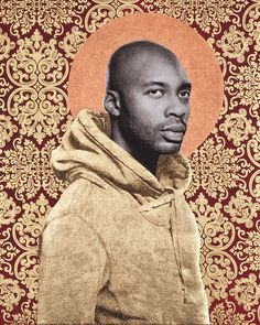 Curate NYC 2013 - Gabriel Garcia Roman influenced by religious imagery (notice the halo and baroque background)