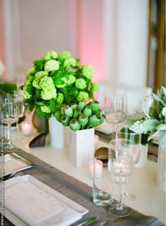 Bright green wedding centerpieces in modern white vases. Birch. Instead of You! Wedding Coordination and Design.