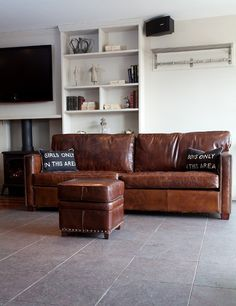vintage leather greenwich sofa.