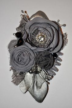 diamante grey silver corsage brooch dress pin wedding bride vintage 12 cm formal