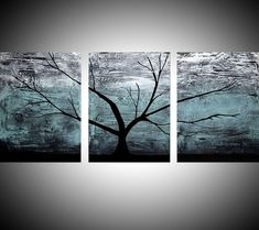 "triptych multi color 3 panel wall art color turquoise black white impasto tree in wood ""The Tree of life"" turquoise edition 3 panel wall abstract canvas abstraction 48 x 20 "" other sizes available"