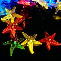 Starfish Solar String Lights 20ft 30 LED Fairy Decorative Christmas Lighting for Indoor and OutdoorLawn GardenWeddingPatioPartyand Holiday Decorative Wall Light MultiColor ** Click on the image for additional details.