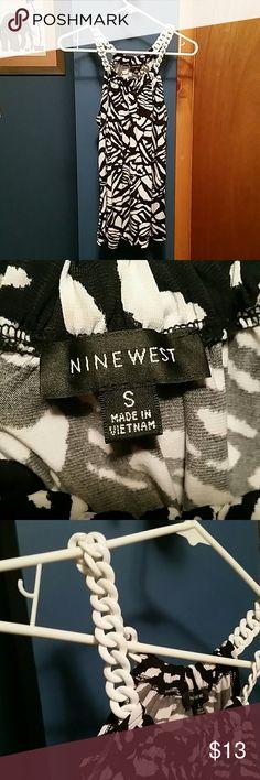 Nine West black/white halter blouse In brand new condition. Plastic weaved halter straps. Nine West Tops Blouses