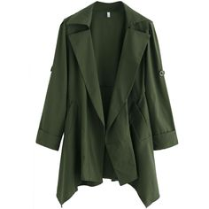 Green Asymmetrical Back Belt Trench Coat (445 MXN) ❤ liked on Polyvore featuring outerwear, coats, green, trench coat, long green coat, green coat, leather-sleeve coats and long sleeve coat