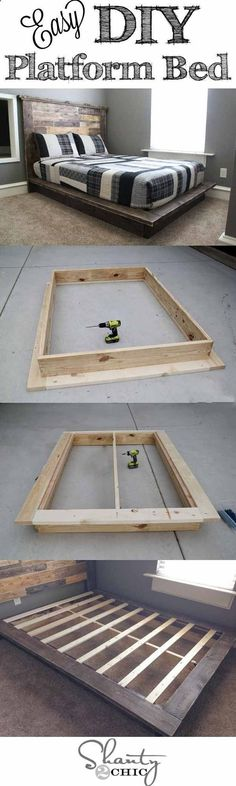 Easy DIY Platform Bed | Creative Pieces Of Wood For A New Bedroom With A Storage by DIY Ready at diyready.com/...