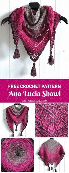 Ana Lucia Shawl - a free crochet shawl pattern by Wilmade (crochet easy projects)Here you can find my free crochet shawl pattern of the Ana Lucia Shawl. The shawl has beautiful details and is made with double crochet stitches. Crochet Shawl Free, Crochet Shawls And Wraps, Crochet Scarves, Crochet Lace, Knitting Scarves, Crochet Vests, Crochet Edgings, Crochet Shirt, Crochet Motif