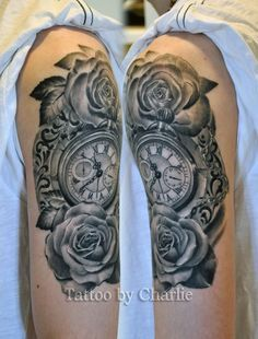 pocket watch tattoo with roses healed by gettattoo on DeviantArt