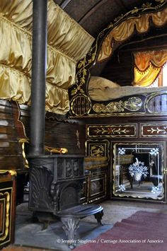 Wood stove in gypsy caravan