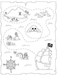 DIY: pirate mapHow do I create antique looking paper or a scroll and how do I draw a treasure map? Simple steps to create an authentic looking old pirate map. Treasure Maps For Kids, Pirate Treasure Maps, Pirate Maps, Pirate Theme, Treasure Hunt Map, Treasure Island, Boat Crafts, Pirate Crafts, Minion